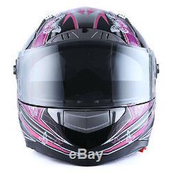 1STorm Motorcycle Bike Dual Visor Full Face Helmet Women Lady Butterfly Purple
