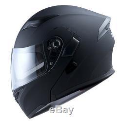 1Storm Motorcycle Modular Flip up Full Face Helmet Sun Dual Visor Matt Black B89