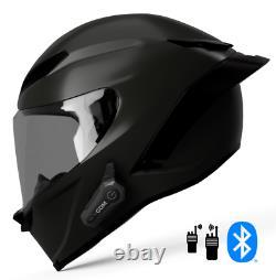 2021 GDM Demon Motorcycle Helmet with Intercom Bluetooth Headset + Smoked Shield