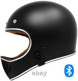 2021 GDM Rebel Retro Motorcycle Helmet with Bluetooth Headset DOT Matte Black