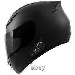2021 Motorcycle Helmet with Intercom Bluetooth Headset + Smoked Shield