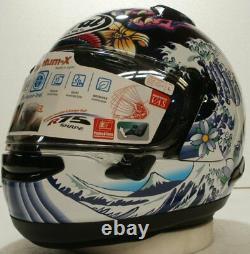 Arai Quantum X Oriental Gloss Black Dragon Koi motorcycle helmet Hokusai wave