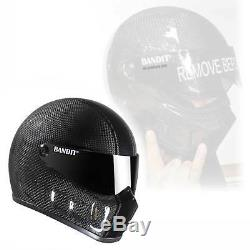 Bandit Super Street 2 Carbon Motorcycle Helmet Streetfighter small window light