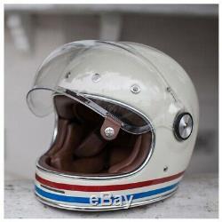 Bell Bullitt DLX Helmet Stripes Pearl White Size Large Vintage Retro Style