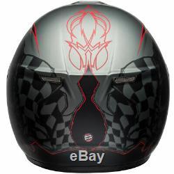 Bell SRT Hart Luck Skull Charcoal / White / Red Motorcycle Motorbike Helmet