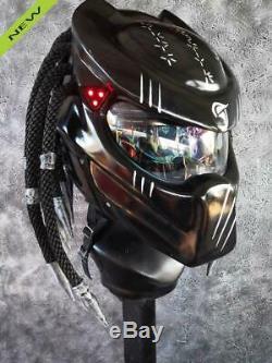 Black Predator Modular Motorcycle DOT ECE Helmet Dual Shield Biker Silver Tip