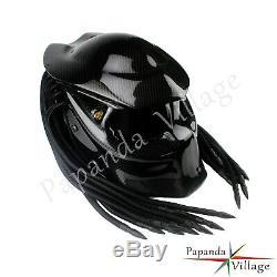 Carbon Fiber Predator Iron Man Full Face Motorcycle Helmet Black Visor S M L XL