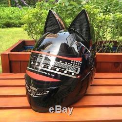 Cat Ears Full Face Helmet Catwoman Lightweight Motorcycle Racing Lady Head Gear