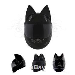 Cat ears Helmet full face black helmet NITRINOS Motorcycle racing helmet HQ