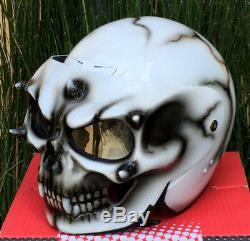 Custom Motorcycle Jet Helmet SKULL Skeleton Death White Ghost Rider Visor DOT