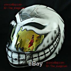 Custom Paint Motorcycle Helmet ECE Gift Superbike Bike Race Smiley White CH07