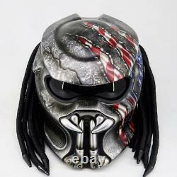 Custom Predator DOT Approved Alien vs Predator American Flag Motorcycle Helmet
