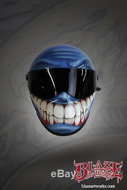 Custom airbrushed/painted Matrix Alpha helmet, Smiley/Grin design bandit style