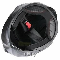 DOT Dual Visor Flip Up Full Face Modular Motorcycle Helmet Matte Black + Headset