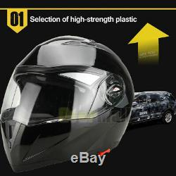 DOT Gloss Black Modular Flip Up Dual Visor Full Face Motorcycle Helmet S/M/L/XL