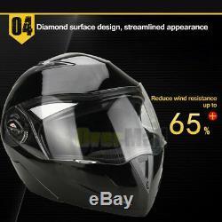 DOT Gloss Black Modular Flip Up Dual Visor Full Face Motorcycle Helmet S/M/L/XL