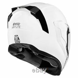 FREE SHIPPING Icon Airflite Gloss White Full Face DOT Motorcycle Helmet