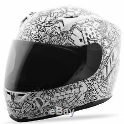 Fly Street 2018 REVOLT Ink'N Needle Full-Face Motorcycle Helmet (White/Black)