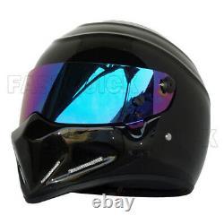 Gloss Black DOT Motobike Full Face Helmet Motorcycle For Street Bandit Racing