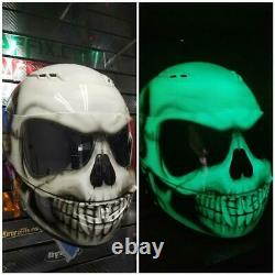 Glow in the Dark Skull Custom Painted Airbrushed Motorcycle Helmet