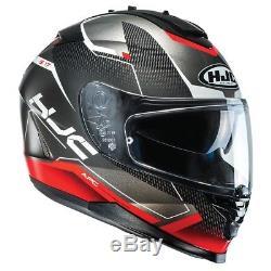 HJC IS-17 Loktar Red IS 17 Full Face Motorcycle Helmet with in built sunvisor