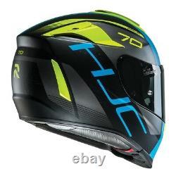 HJC RPHA 70 Vias Blue/Fluo Full face motorcycle helmet with sun visor £100 OFF