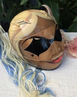 Harley Quinn Cute Girls Motorcycle Helmet Custom Blonde Ponytails Joker Batman