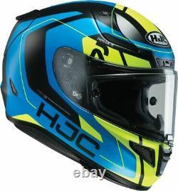 Hjc Rpha 11 Chakri Blue Flo Yellow Full Face Race Sport Track Motorcycle Helmet