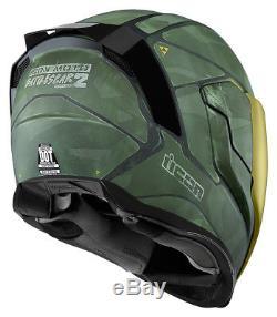 Icon Airflite Battlescar 2 Green Full Face Motorcycle Motorbike Helmet