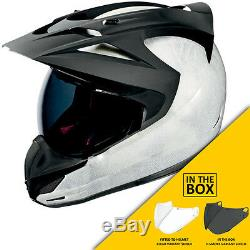 Icon Variant Construct White Motorcycle Enduro Adventure Helmet +DARK VISOR