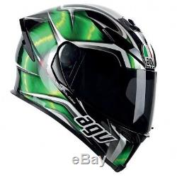 Kawasaki Agv K5-s Hurricane Green Gold Acu Approved Racing Crash Helmet Ee. 2205