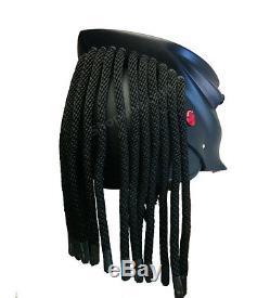 LARGE Matte Black Predator Scars Full Face Biker Aliens Motorcycle Helmet L