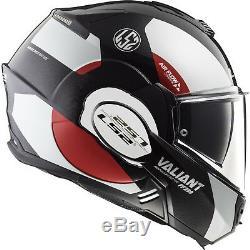 LS2 FF399 Valiant Avant Flip Front Motorcycle Helmet L White Black Red Motorbike