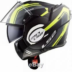 LS2 FF399 Valiant Line Motorbike Helmet Modular Convert Matt Black Hi Vis 180º