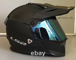 LS2 Off-Road MX Enduro Motocross Helmet MATT BLACK Full Face Blue Tinted Visor