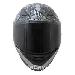 MT Revenge Skull And Roses Motorcycle Helmet Grey Motorbike Crash Lid Scooter