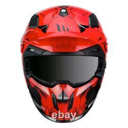 MT Streetfighter Darkness Black Red Modular Motorcycle Helmet Removable Mask