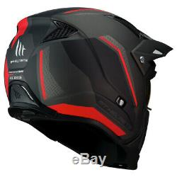 MT Streetfighter Matt Black Red Modular Motorcycle Helmet With Removable Mask