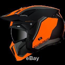 MT Streetfighter Twin Matt Black Orange Modular Motorcycle Helmet Removable Mask
