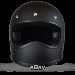 Matrix Duke Full Face Motorcycle Helmet Scrambler Retro Vintage style Black