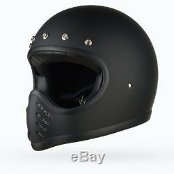 Matrix Motto Full Face Motorcycle Helmet Low profile Vintage style Matt Black