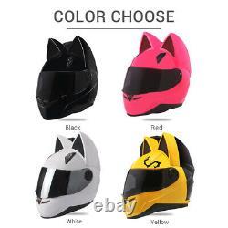Motorcycle Helmet Ears Cat Women Motocross Full Face Helmet Moto Flip Up Visor