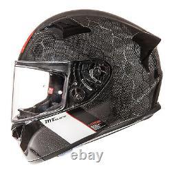 Mt Kre Snake Carbon Fibre Full Face Motorcycle Motorbike Helmet Gloss Size M