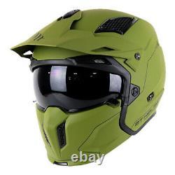 Mt Streetfighter Full Face Off Road Skull Motorcycle Motorbike Helmet Matt Green