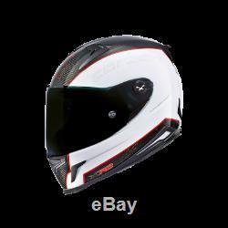 NEXX X. R2 Carbon Black / White / Red Full Face Motorcycle Helmet ZE