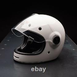 New 2019 Bell Bullitt White Retro Ace Cafe Racer Motorcycle Crash Helmet
