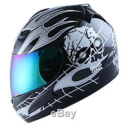 New Motorcycle Full Face Helmet White Skull Black + Bonus One Extra Clear Visor