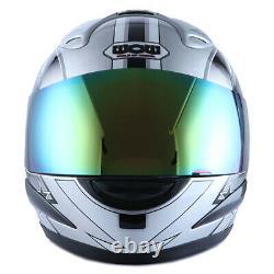 New Wow Dot Motorcycle Full Face Helmet Adult Street Bike Star Silver S M L XL