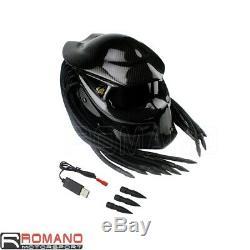 Predator Bike Helmet Mask Carbon Fibre Motorcycle Iron Man Full Face Helmet NEW