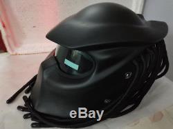 Predator Helmet Motorcycle Full Face LED Lights Motocross Masei Black Matte